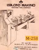 """LeBlond 15"""" & 19"""", Lathes, 3942, Instructions and Parts Manual 1984"""