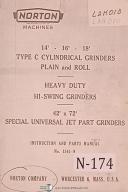 "Norton 14"", 16"", 18"", Type C , Hi Swing Grinders Instruction & Parts Manual 1960"