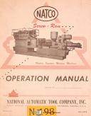 Natco 600, Plastic Injection Molding, Users Operations Maint & Parts Manual