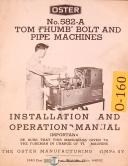 Oster 582-A, Tom Thumb Bolt and Pipe Machine, Installation and Operations Manual
