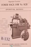 Royersford No. M2B Power Hack Saw Operating & Repair Parts List Manual Year 1956