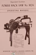 Royersford No. M2B Power Hack Saw Operating & Repair Parts List Manual Year 1956