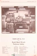 South Bend Lathe Works, 16 Inch Toolroom Lathe, Parts Lists No. P-16 Manual 1943