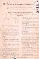 S-P Manufacturing Corp., RC Service and Parts for Hydraulic Cylinders Manual