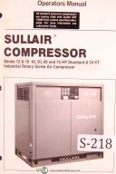 Sullair 12, 16, 40, 50, 60, 75 HP, 24KT, Screw Air Compressor Operator Manual