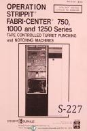 Strippit 750, 1000, 1250, Turret Punching - Notching Nibbling Press Manual 1979