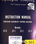 Speedycut ST-0, ST-1 ST-2 ST-3, Tapping Machine Instructions and Parts Manual