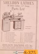 "Sheldon M Series, 13"" Swing Lathes, Parts List Manual"