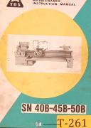 TOS SN 40B 45B & 50B, SV18RA, lathe Operations and Maintenance Manual 1976