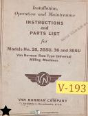 Van Norman 26, 26SU 36 and 36SU, Milling Operations and Maintenance Manual