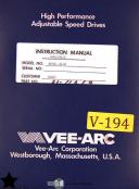 VEE-ARC RIVCL 4.5 hp, Speed Drives Instruction Wiring and Parts Manual