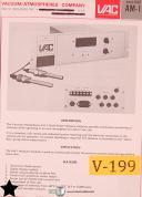 VAC Vacuum Atomospheres AM-1, Analyzer Ondyne 1400 Hydrometer Manual