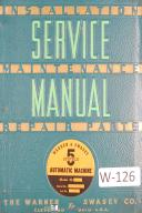 Warner & Swasey 5 Spindle Automatic Machine , M-2540 Lot 119 Service Manual 1954