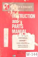 "Warner & Swasey 14""and 18"" Universal Grinding Instruction and Parts Manual 1972"