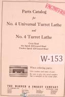 Warner & Swasey No. 4 Universal Turret Lathe Parts List Manual Year (1930)