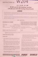 Purox Oxweld Welding, W-300 W400 Weld Torches & CW-300 CW400 Attachment Manual