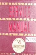 Warner & Swasey No. 4, M-1320 - Lot 31 Turret Lathe Service Manual Year (1941)