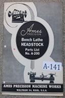 Ames Bench Lathe No. A-200 Parts List
