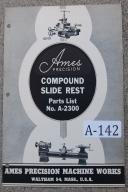 Ames Bench Lathe No. A-2300 Compound Slide Parts List