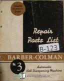 Barber-Colman No. 3 Hob Sharpener Parts List Manual