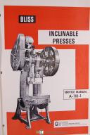 Bliss 21 1/2-B, A-110-1 Inclinable Press Service Machine Manual
