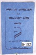 Barnesdril 242 Drilling & Tapping Machine Operation Parts Manual