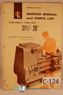 "Cincinnati TrayTop 21""-26"" Lathe Operation Parts Manual"