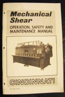 Cincinnati Mechanical Shear Manual, Operation and Maintenance Manual