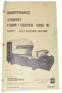 Strippit Fabri Center 1000 III Maintenance and Operation Manual