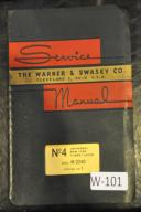 Warner & Swasey No. 3, 4, 5 Turret Lathe Service, Parts & Instruction Manual