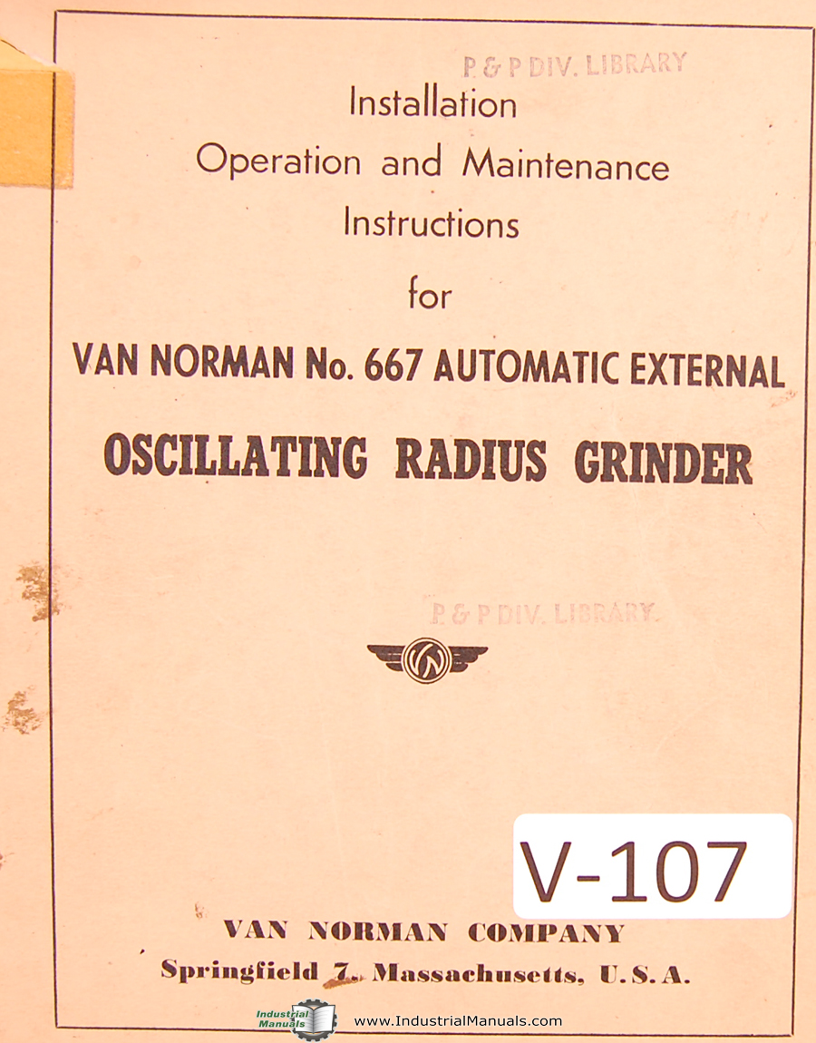 Van Norman Number 111, Crankshaft Re Grinder, Illustrated Part Drawings Manual